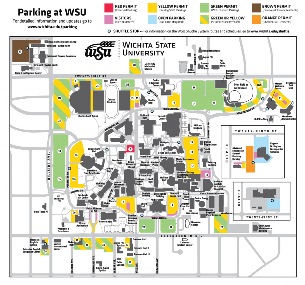Parking inside Wichita State Parking Map