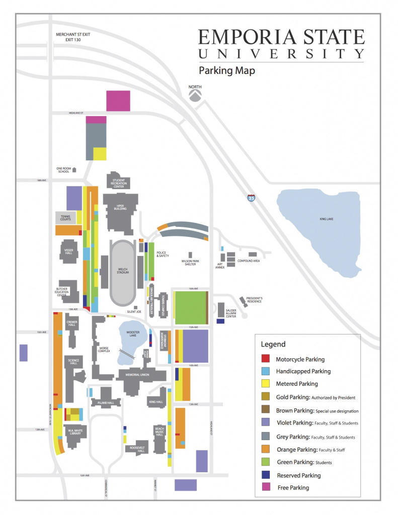 Parking Map - Campus Map | Emporia State University within Wichita State Parking Map