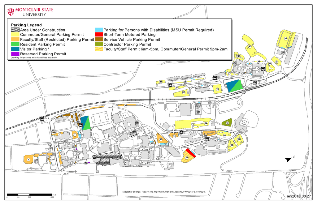 Parking Map | Manualzz within Montclair State University Parking Map