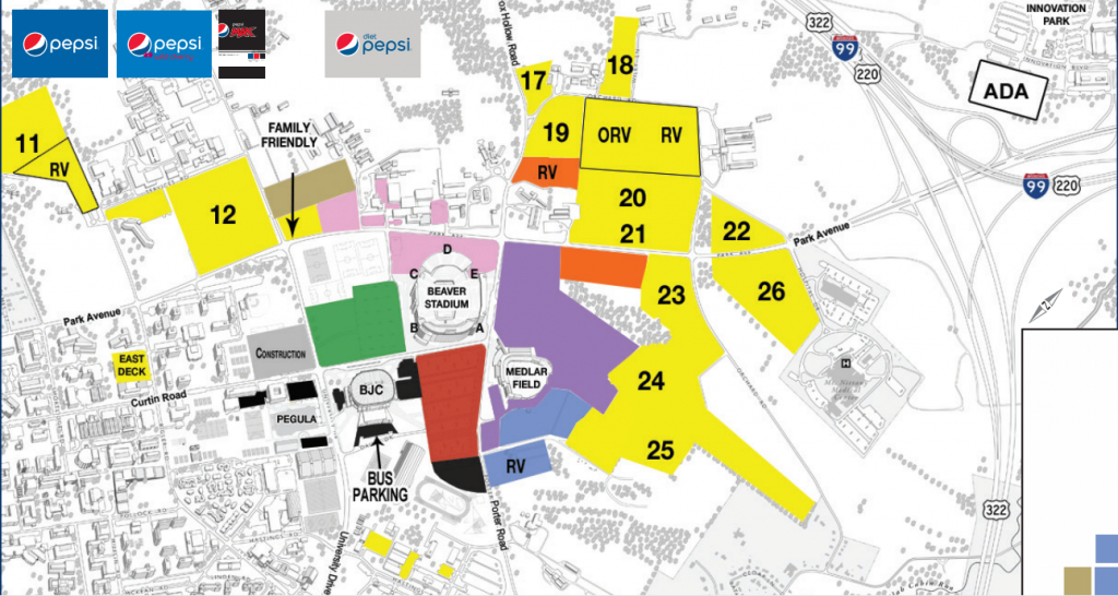 Penn State Adding More Ada Parking Near Stadium -- But It's For with Penn State Stadium Parking Map
