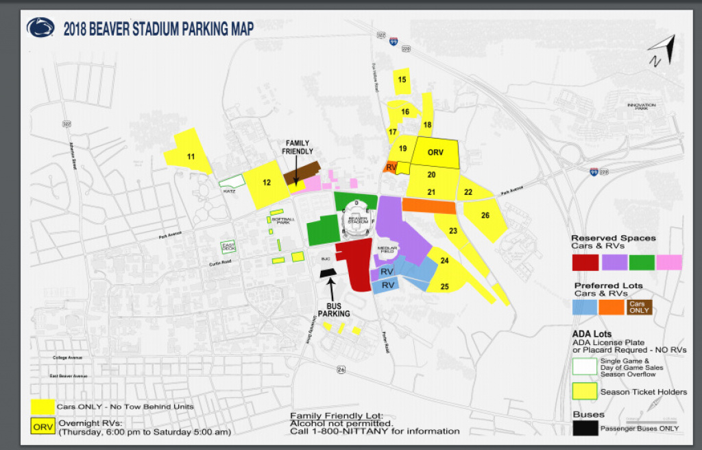 Penn State Football Vs Iowa - Yellow Parking Pass No Tickets 10/27 with regard to Penn State Football Parking Green Lot Map