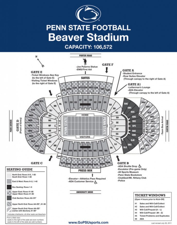 Penn State Football Stadium Seating Map With Rows