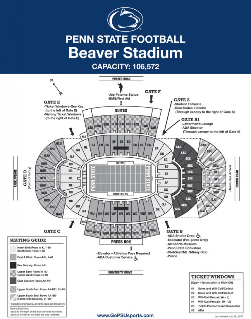 Penn State Seating Chart - Ceriunicaasl for Penn State Football Stadium Seating Map With Rows