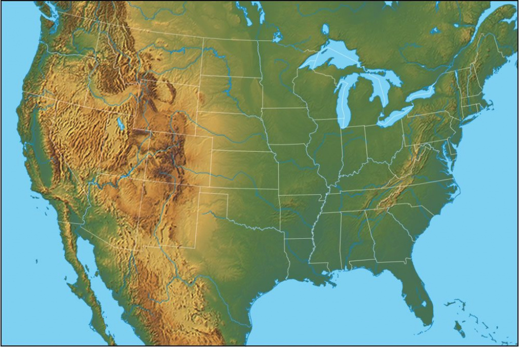 Physical Map Of The United States Of America regarding Blank Physical Map Of The United States