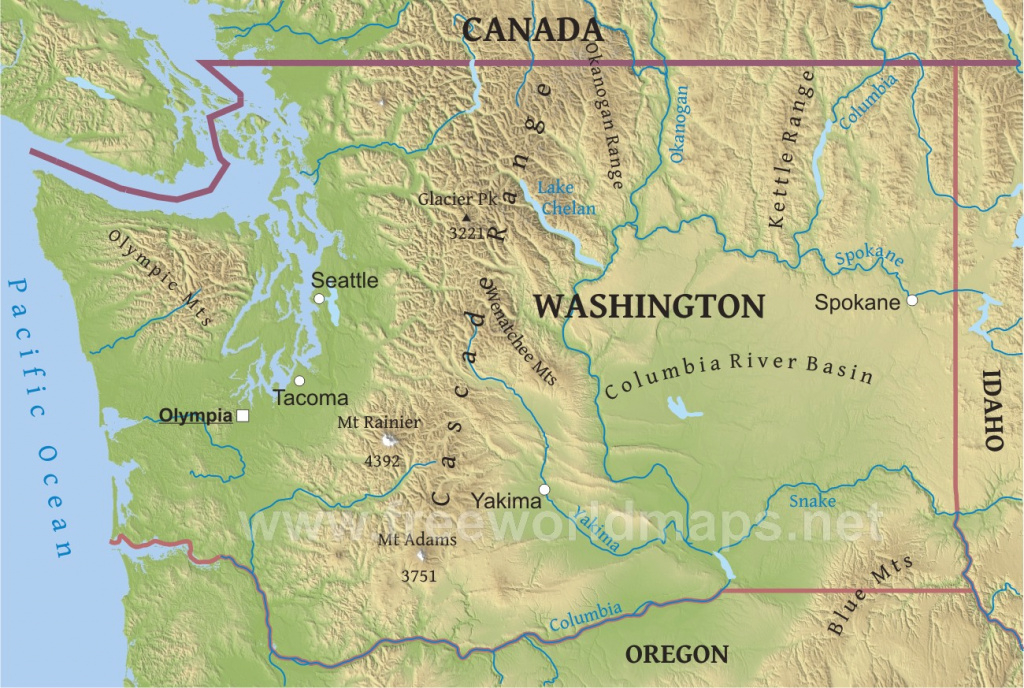 Physical Map Of Washington in Physical Map Of Washington State