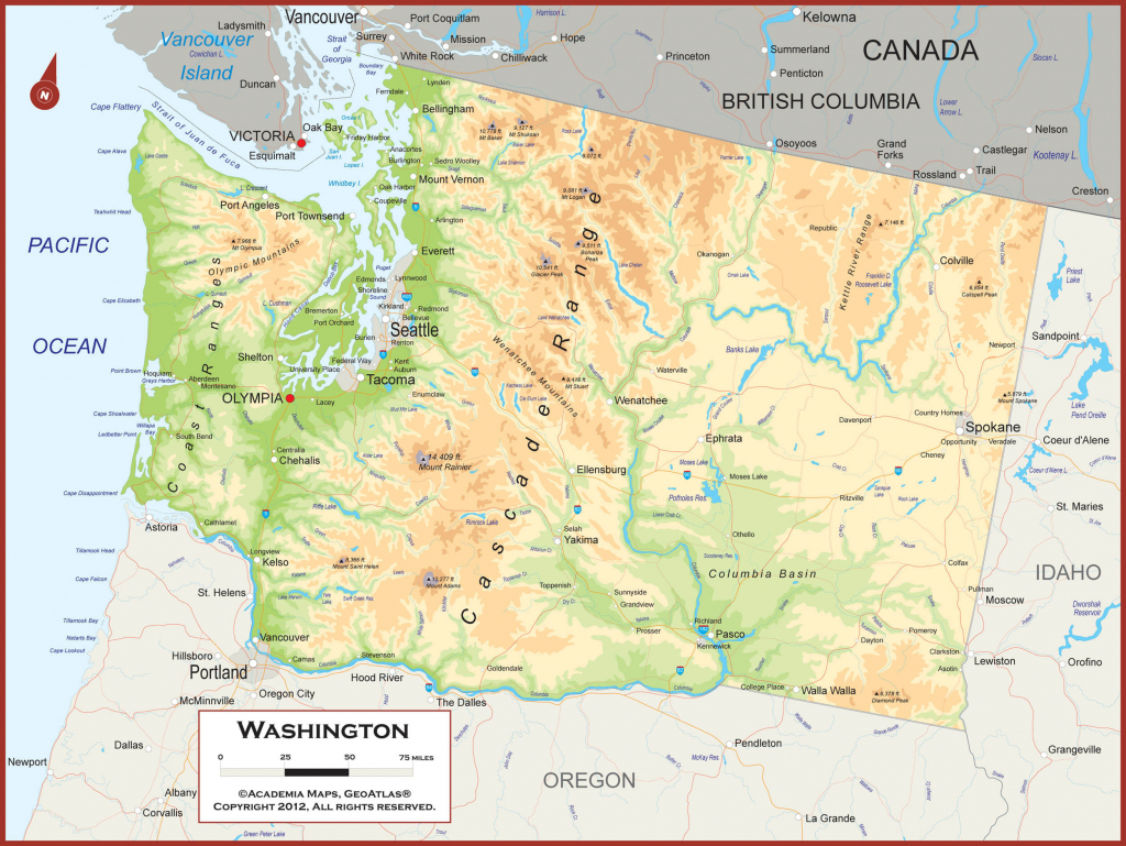 Physical Map Of Washington State Example Of Geographic Map with Physical Map Of Washington State