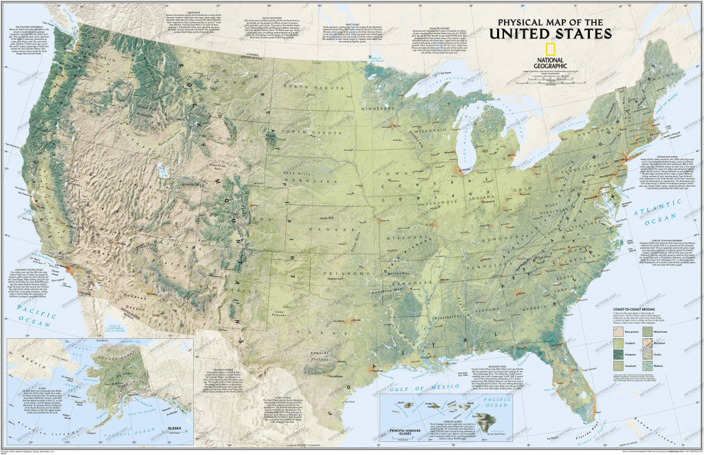 Physical Us Map 97 X 64Cm - Countries- & Regions Maps - Wall Maps inside Geographic United States Map