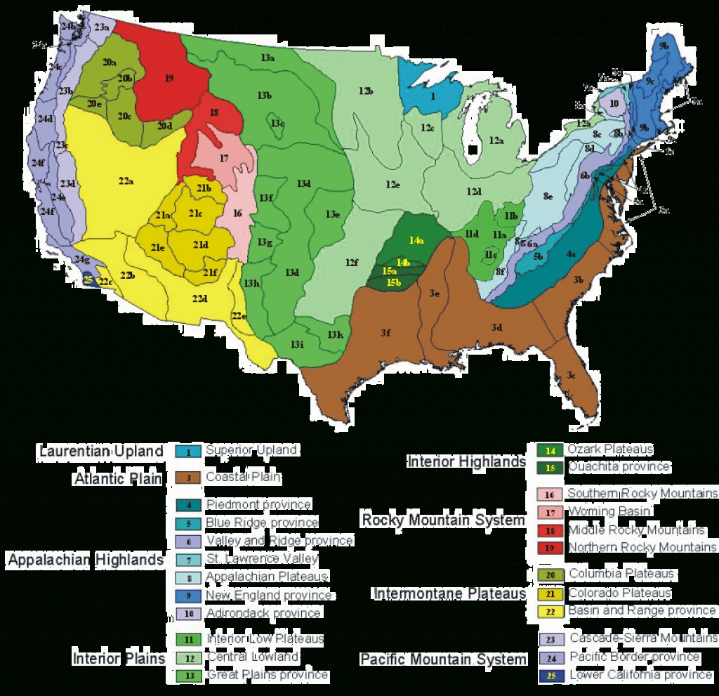 Physiographic Regions Of Virginia within Physiographic Map Of The United States