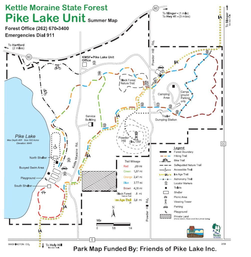 Pike Lake Unit - Kettle Moraine State Forest - Maplets in Kettle Moraine State Park Map