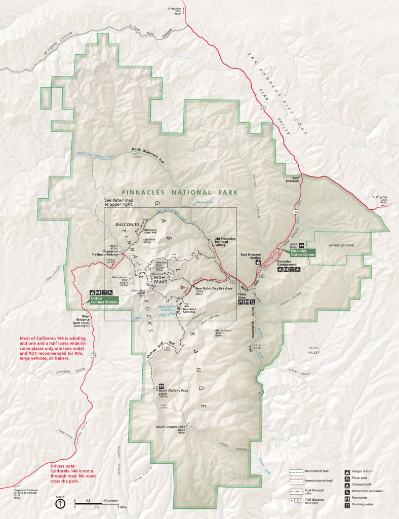 Pinnacles Maps | Npmaps - Just Free Maps, Period. inside First Landing State Park Map Pdf
