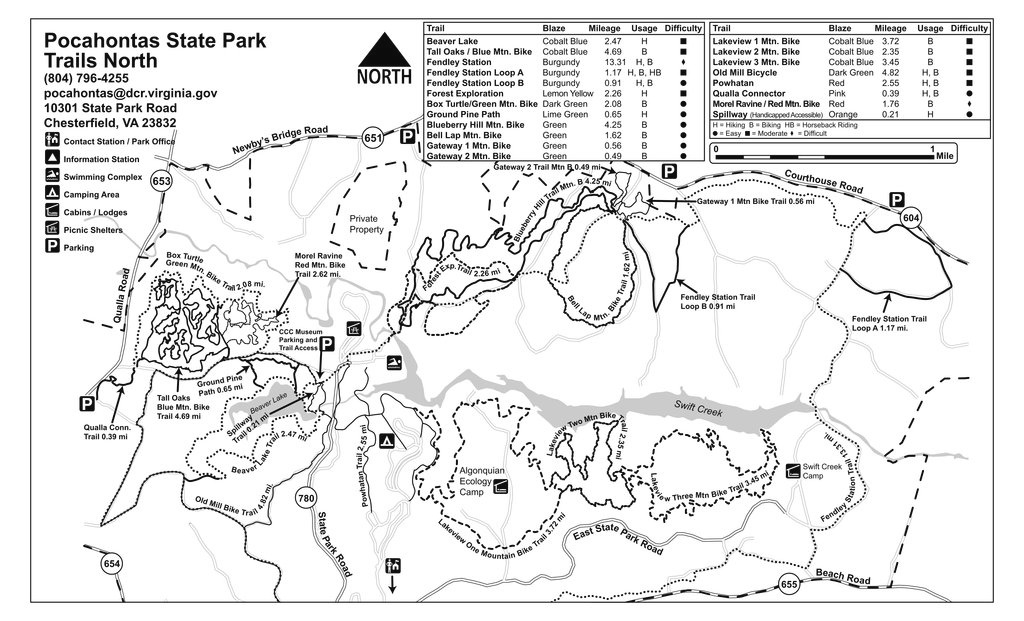 Pocahontas State Park - Maplets in Pocahontas State Park Trail Map