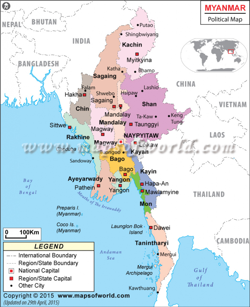 Political Map Of Myanmar throughout Map Of Myanmar States And Regions