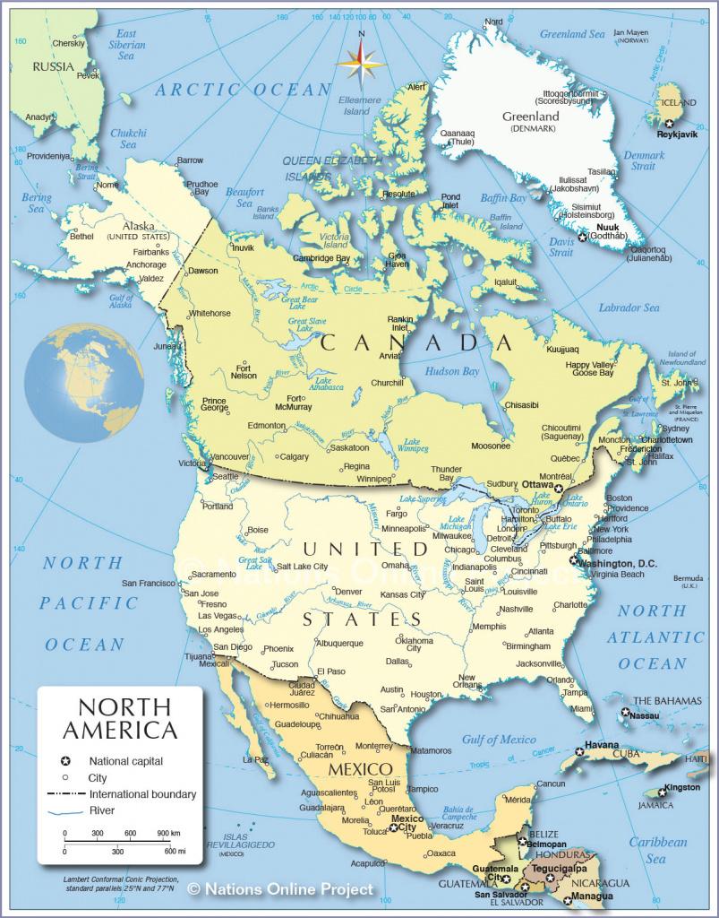 Political Map Of North America (1200 Px) - Nations Online Project inside North America Map With States And Capitals