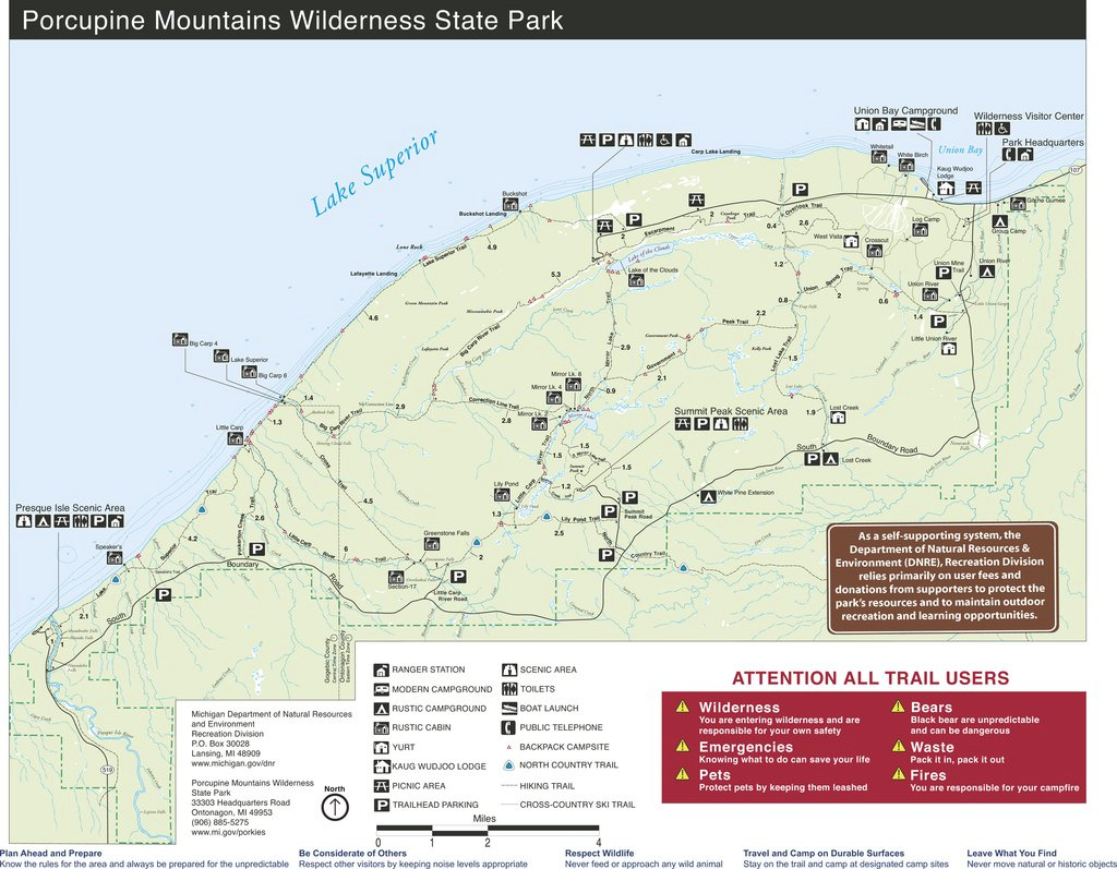 Porcupine Mountains Wilderness State Park - Maplets intended for Map Of Porcupine Mountains State Park