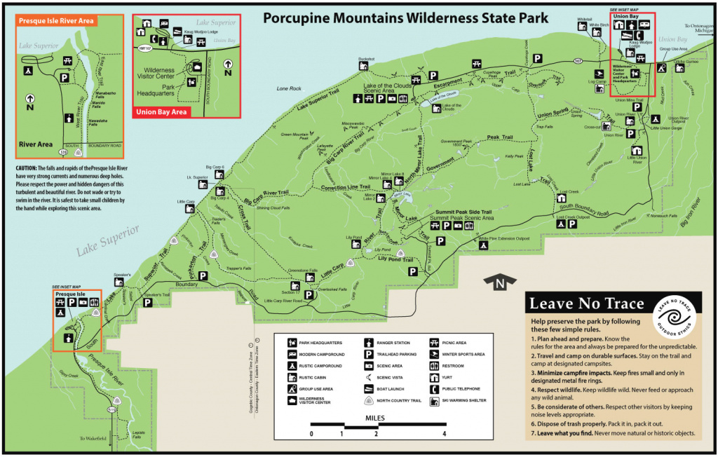 Porcupine Mountains Wilderness State Parkmaps & Area Guide in Map Of Porcupine Mountains State Park
