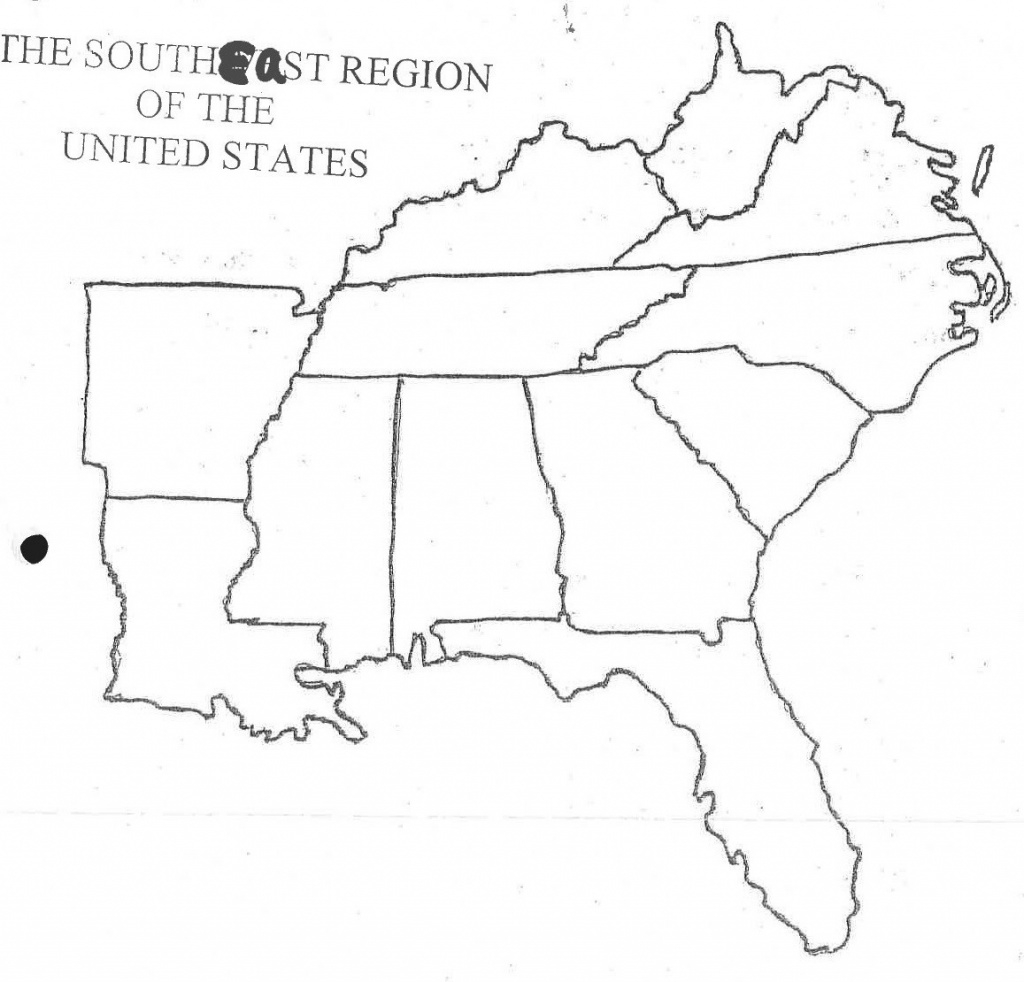 Printable Blank Map Southeast Us Road Of Southeastern United States throughout Blank Map Of Southeast United States