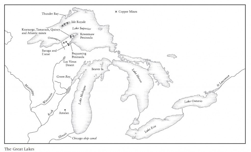 Printable Map Of Great Lakes And Travel Information   Download Free For Great Lakes States Outline Map