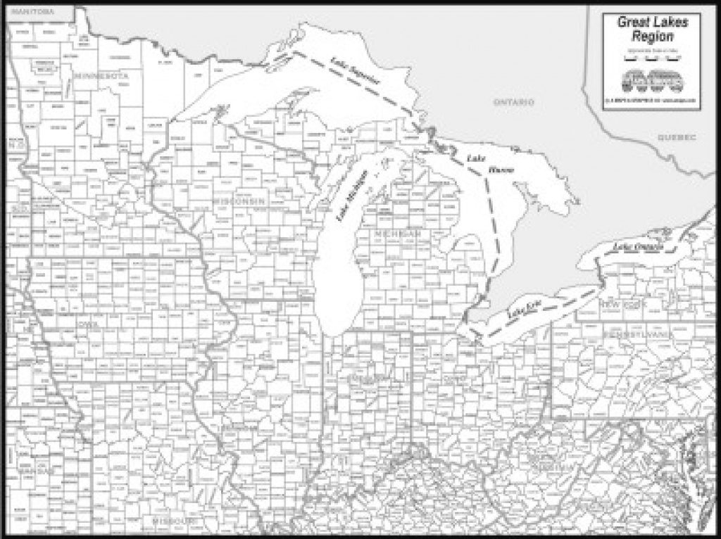 Printable Map Of Great Lakes And Travel Information   Download Free With Great Lakes States Outline Map