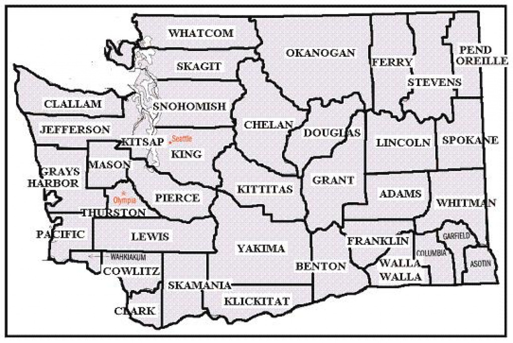 Printable Map Of Washington State within Printable Map Of Washington State