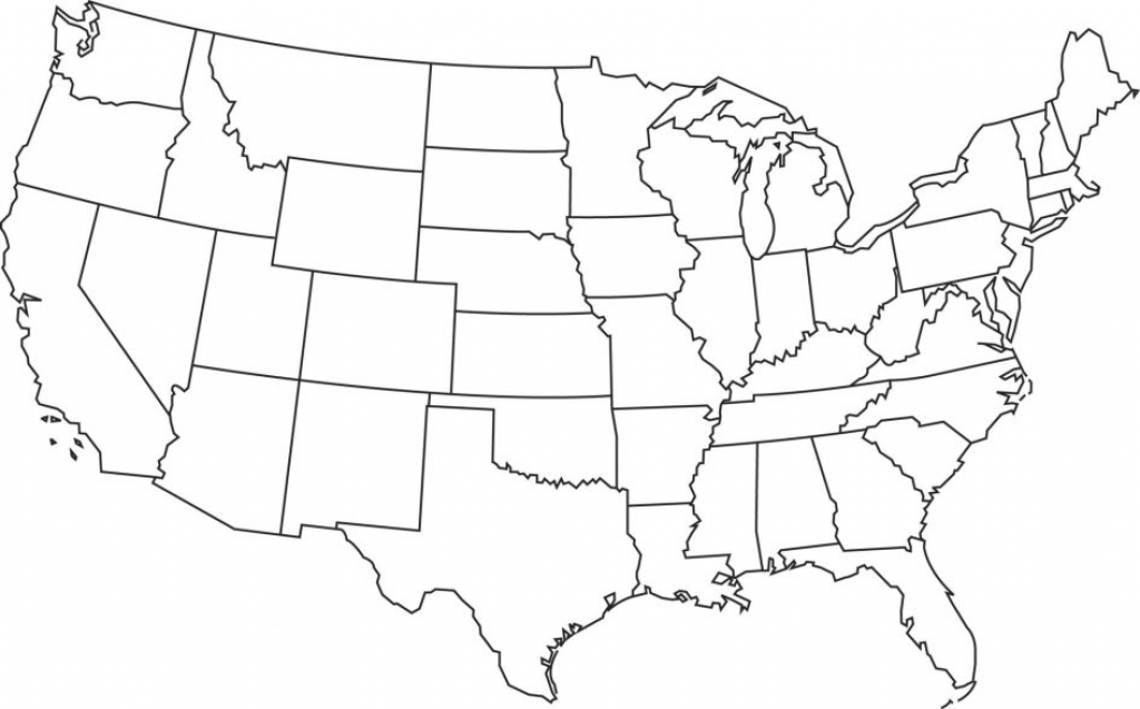 Printable. Map Us State Borders Printable: Printable Blank Us State regarding Blank State Map