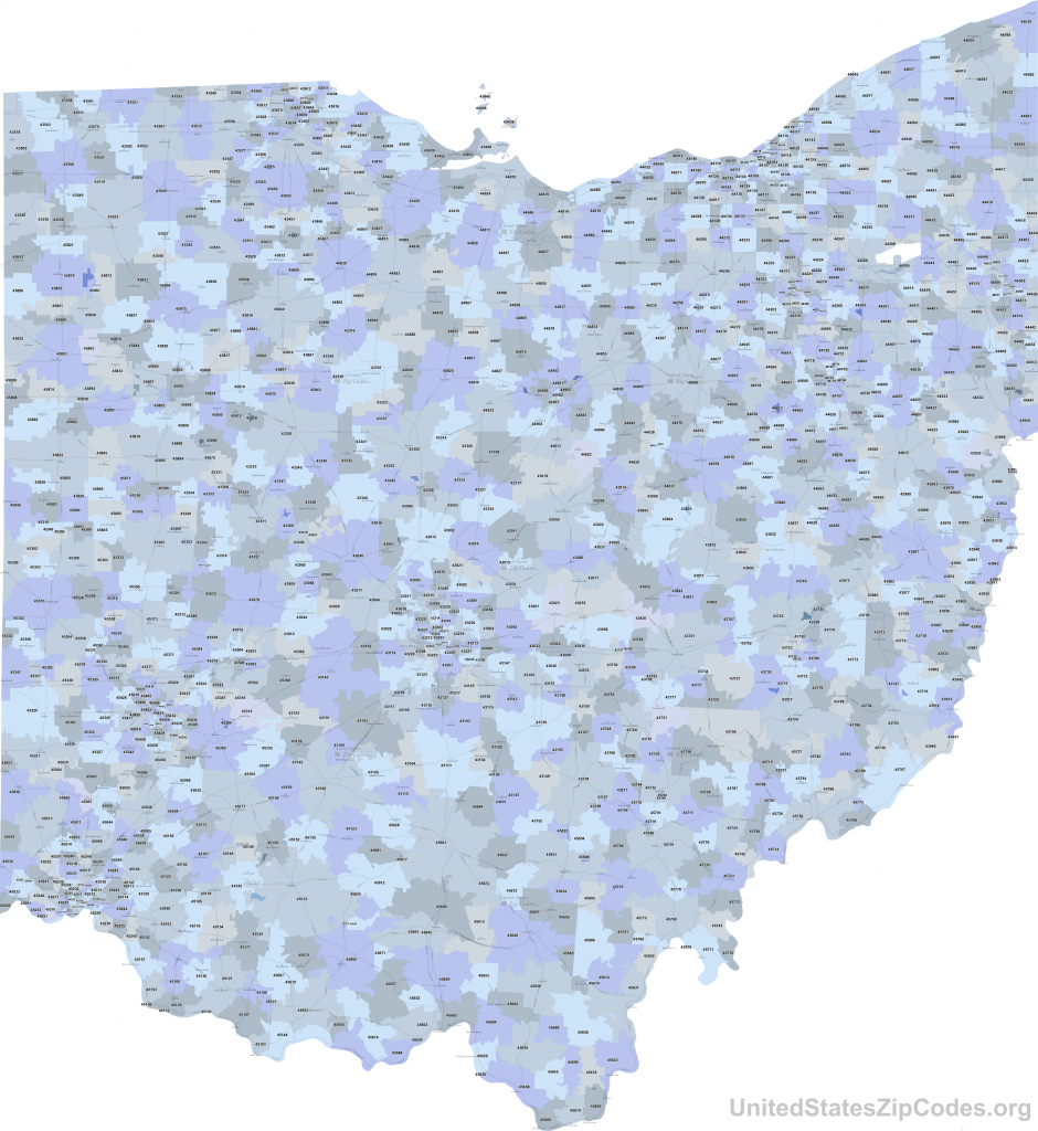 Printable Zip Code Maps - Free Download inside State Of Ohio County Map Pdf