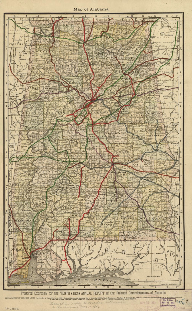 Railroad Maps, 1828 To 1900, Alabama | Library Of Congress with regard to Alabama State Railroad Map