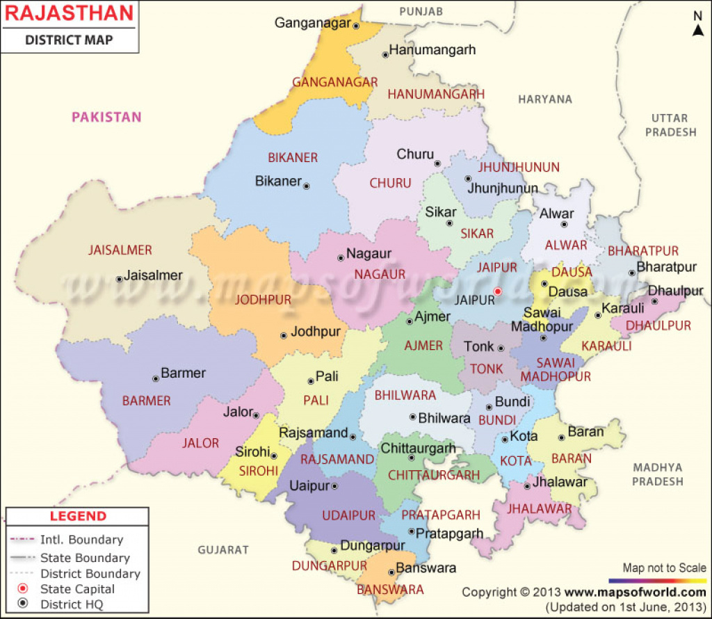 Rajasthan Map, Districts In Rajasthan for Political Map Of Rajasthan State