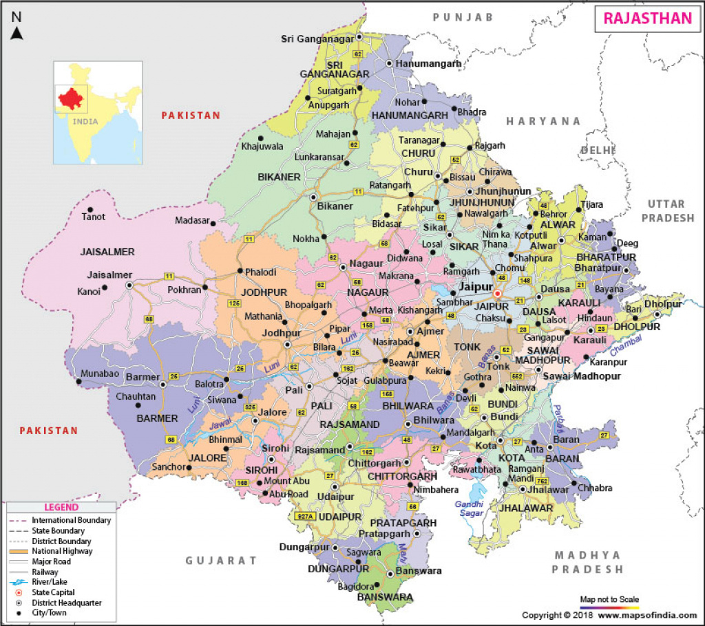 Rajasthan Map: State Information, Districts And Facts regarding Political Map Of Rajasthan State