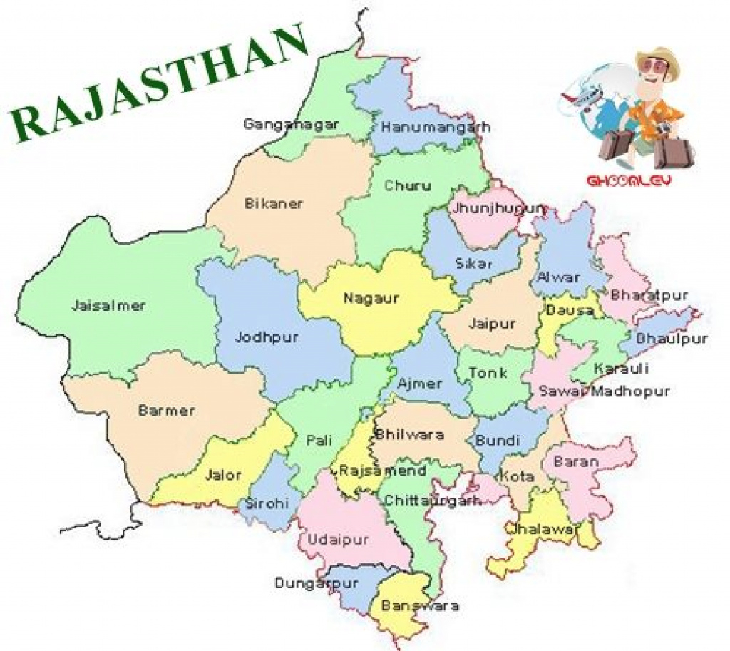 Rajasthan Map With Districts | States | Pinterest | India, India Map with Political Map Of Rajasthan State
