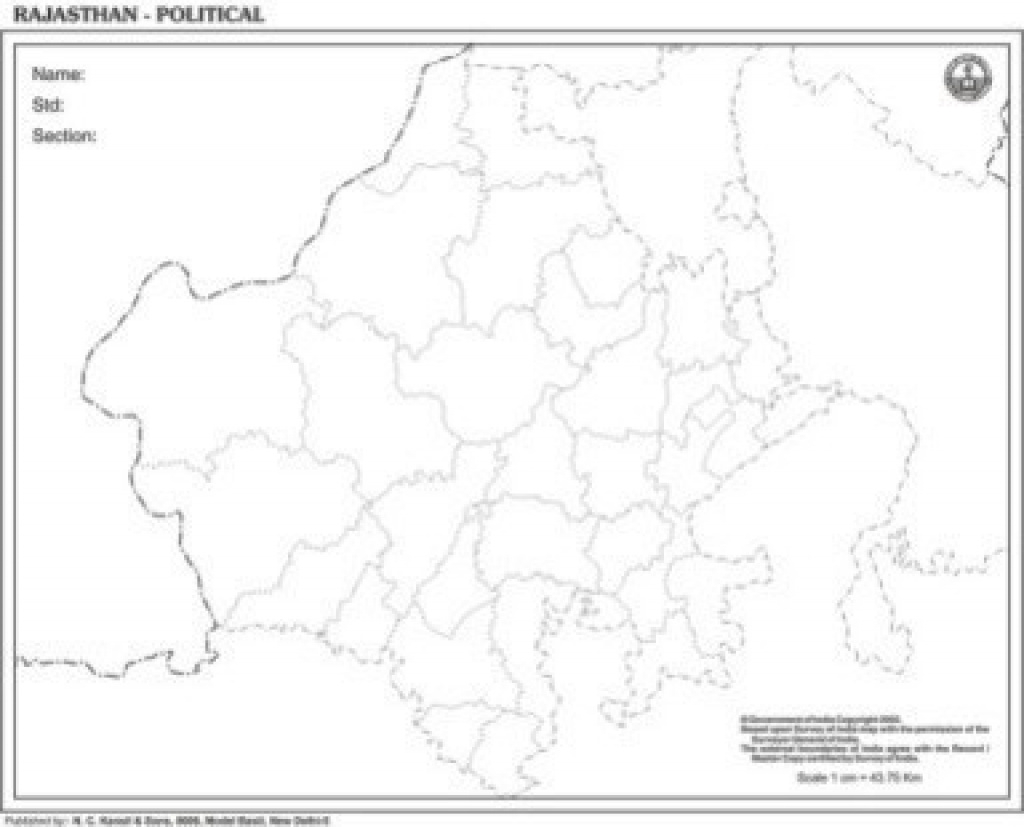 Rajasthan Outline For State Map At Rs 90 /piece | Political State for Political Map Of Rajasthan State