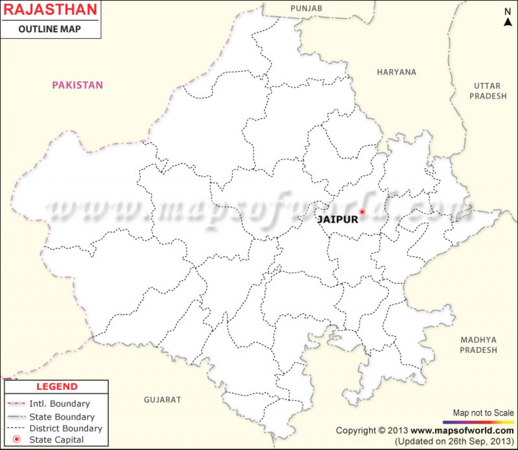 Rajasthan Outline Map within Political Map Of Rajasthan State