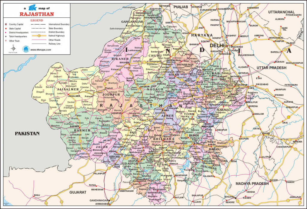 Rajasthan Travel Map, Rajasthan State Map With Districts, Cities inside Political Map Of Rajasthan State