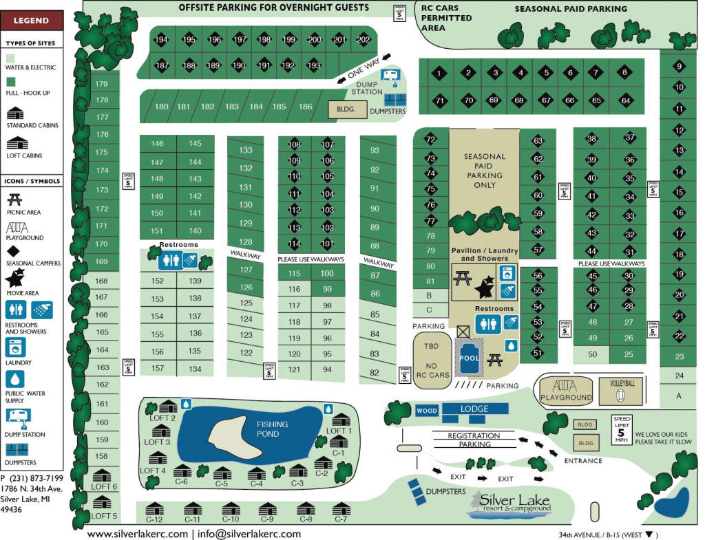 Rates & Maps - Silver Lake Resort & Campground - Mears, Mi for Silver Lake State Park Campground Map