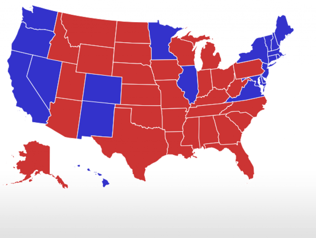 Realclearpolitics - Election 2016 - General Election: Trump Vs. Clinton intended for Trump Support By State Map