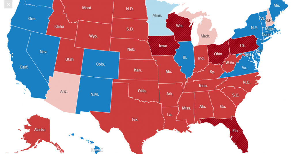 Red And Blue Map, 2016 - The New York Times within Red State Blue State Map
