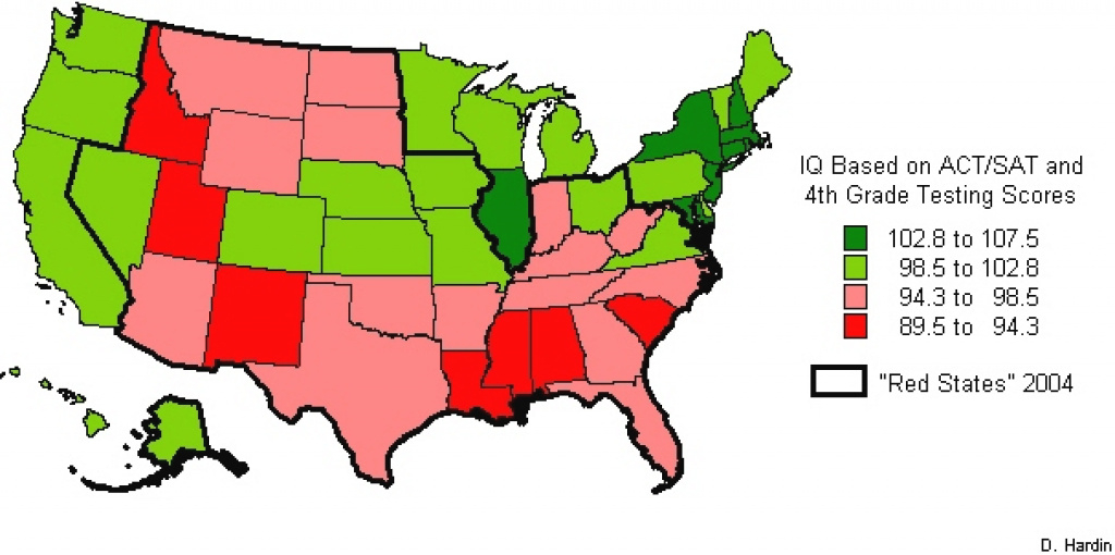 Red State Characteristic Maps pertaining to Iq By State Map