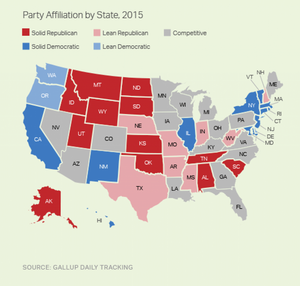 Red States Outnumber Blue For First Time In Gallup Tracking pertaining to Red States Map 2015