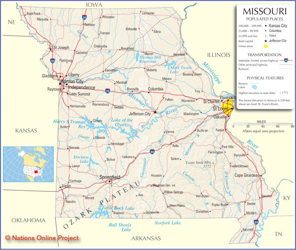 Reference Map Of Missouri | Road Maps Of The United States in State Reference Map Missouri