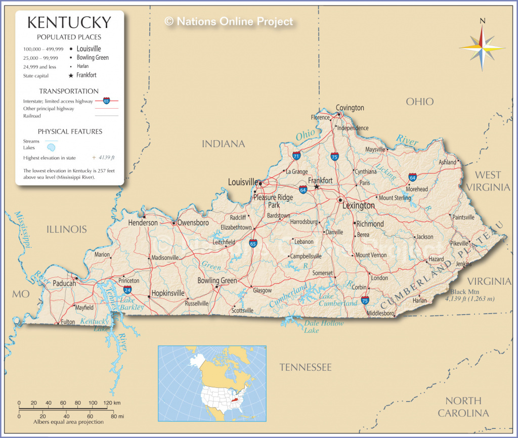 Reference Maps Of Kentucky, Usa - Nations Online Project with regard to Map Of Kentucky And Surrounding States