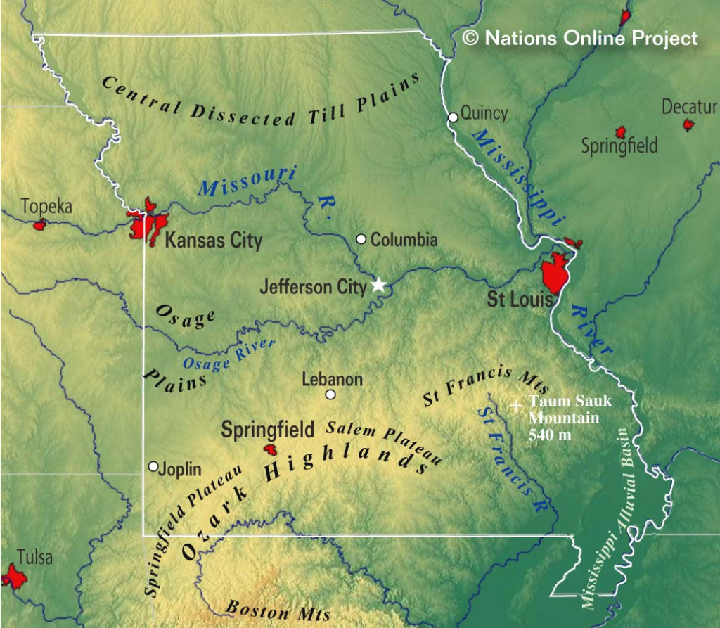 Reference Maps Of Missouri, Usa - Nations Online Project regarding State Reference Map Missouri