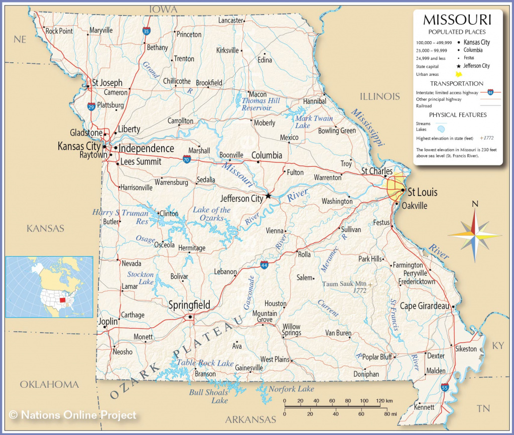 Reference Maps Of Missouri, Usa - Nations Online Project within State Reference Map Missouri
