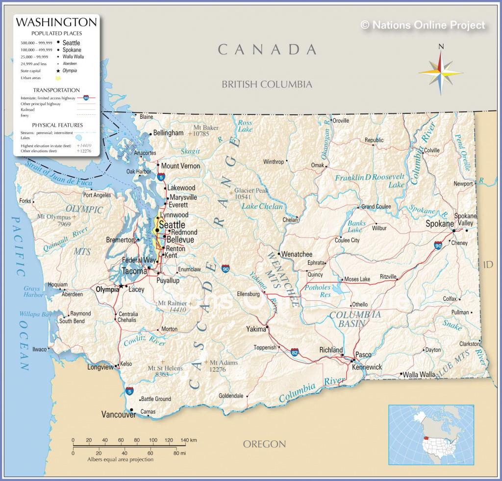 Reference Maps Of State Of Washington, Usa - Nations Online Project within Map Of Washington State Cities And Towns