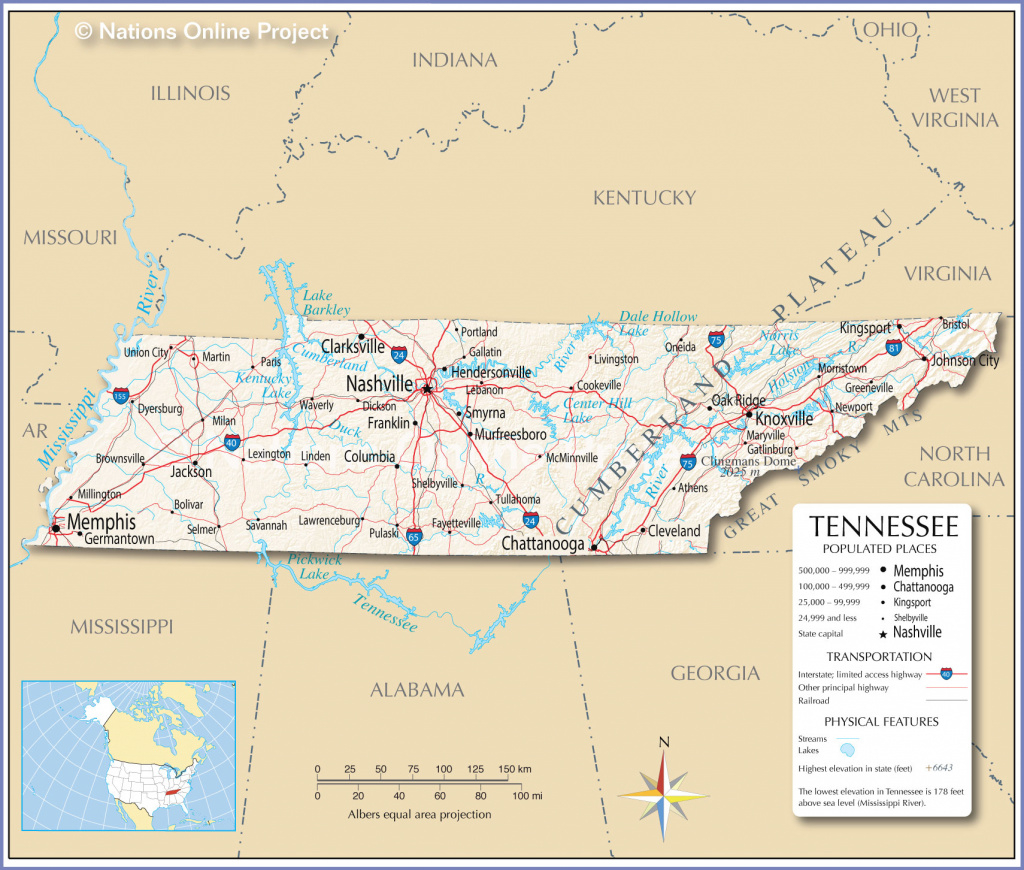 Reference Maps Of Tennessee, Usa - Nations Online Project within Tennessee Alabama State Line Map