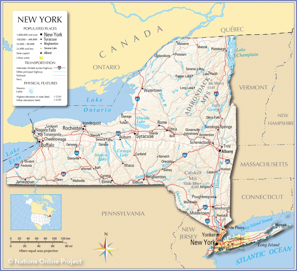 Reference Maps Of The State Of New York, Usa - Nations Online Project in New York State Map Image