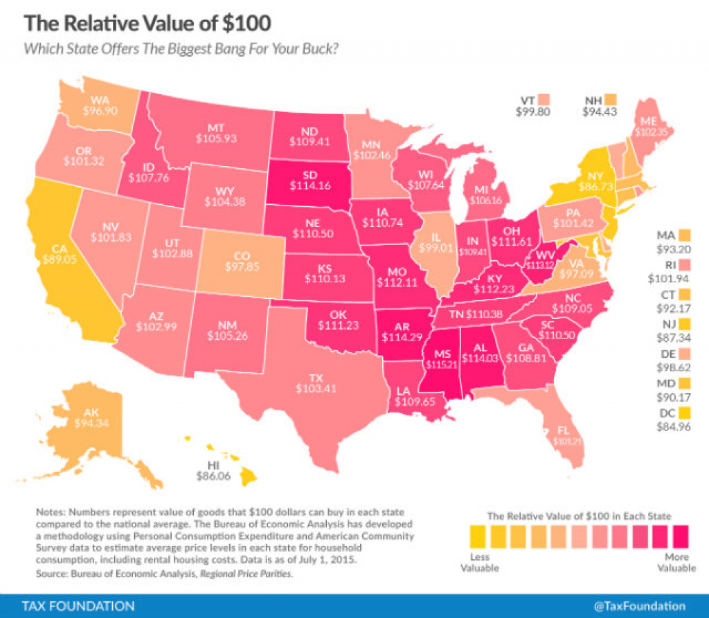 Remember The Map That Said $100 Buys You The Least In Dc? That's Not throughout Map Of The Whole United States