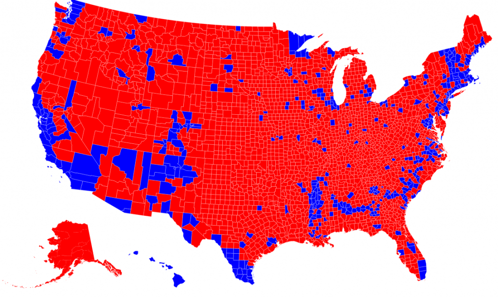 """Republicans Are """"Clustered""""County, Democrats Are """"Clustered"""" throughout Map Of States Trump Won"""