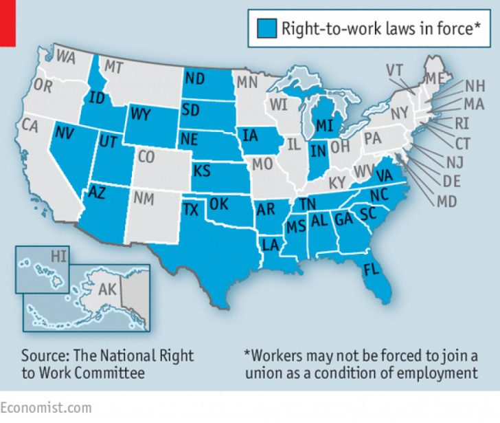 Map Of Right To Work States