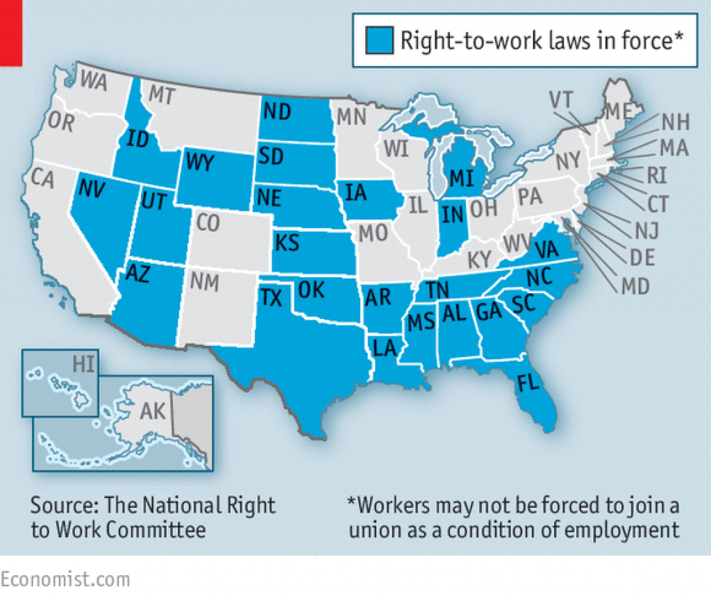 Republicans V Unions - Organised Labour And The Law with Map Of Right To Work States