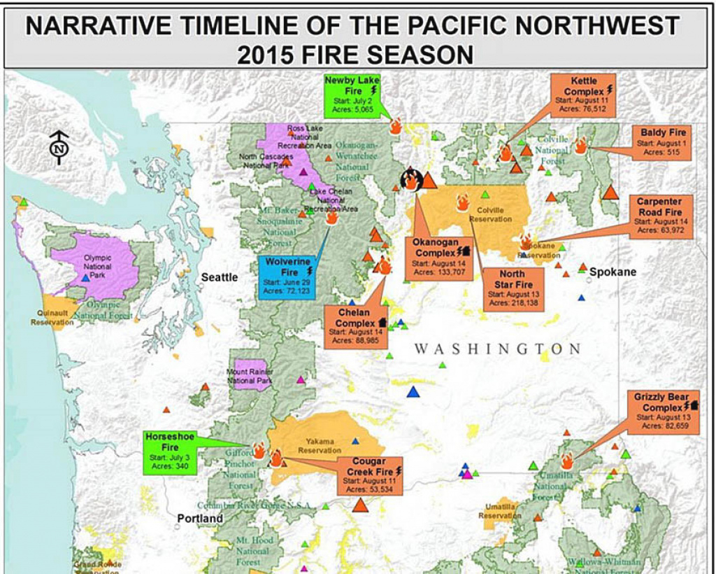 Review Of The 2015 Wildfire Season In The Northwest - Wildfire Today inside Map Of The Washington State Fires