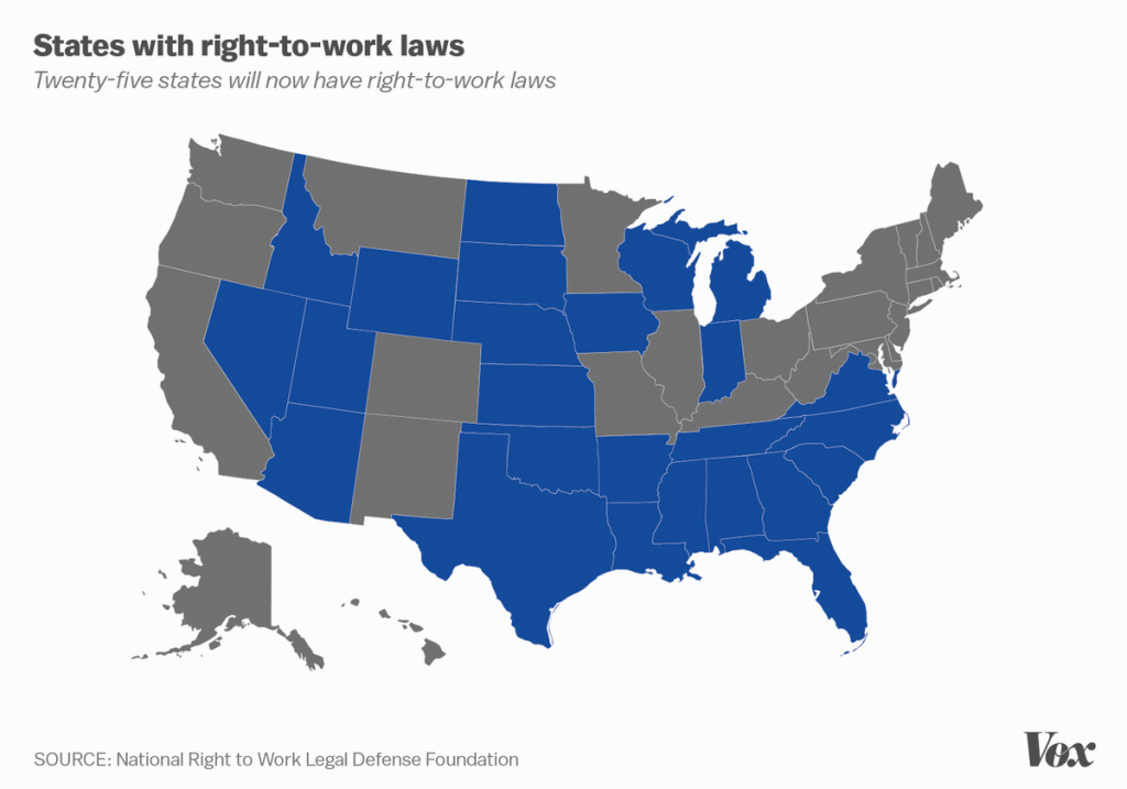 Right-To-Work: The Anti-Union Laws Now On The Books In 25 States - Vox intended for Map Of Right To Work States